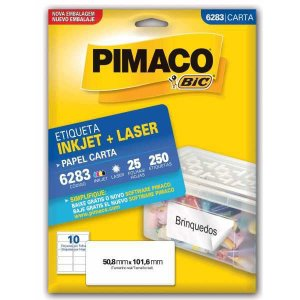 Etiqueta Carta 6283 25 Fls 50,8 X 101,6 Mm Pimaco