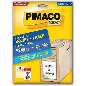Etiqueta Carta 6288 25 Fls 138,11 X 101,36 Mm Pimaco