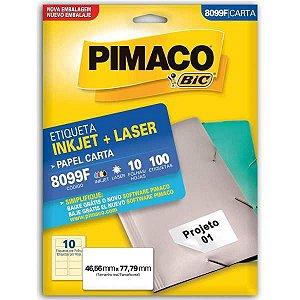 Etiqueta Carta 8099F 10 Fls 46,56 X 77,79 Mm Pimaco