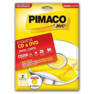 Etiqueta Para Cd E Dvd Cd25B Carta 25 Fls 115 Mm Pimaco