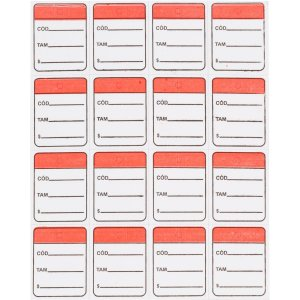 Etiqueta Para Marcacao Tag 30X38Mm Cartão Vermelho Fitacrel
