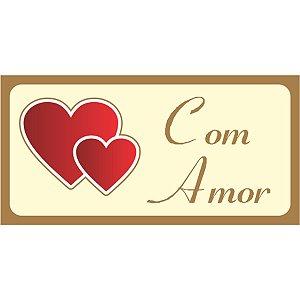 Etiqueta Para Presente Com Amor Retangular Vermelho Grespan