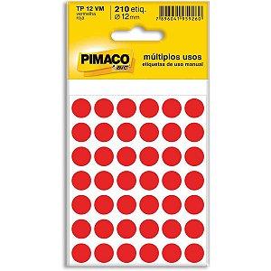 Etiqueta Redonda Tp-12 Vermelha Redonda 12 Mm Pimaco