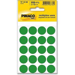 Etiqueta Redonda Tp-19 Verde Redonda 19 Mm Pimaco
