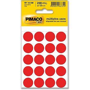 Etiqueta Redonda Tp-19 Vermelha Redonda 19 Mm Pimaco