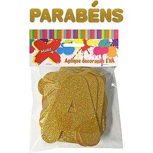 Faixa Decorativa Parabéns Gliter Ouro 12Cm. Make+