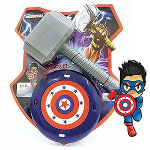 Fantasia Acessório Escudo E Martelo Herois 60Cm Leplastic