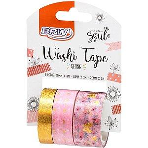 Fita Adesiva Decorada Washi Tape 10/15/20X3 Shine Rs Brw