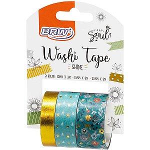 Fita Adesiva Decorada Washi Tape 10/15/20X3 Shine Vd Brw