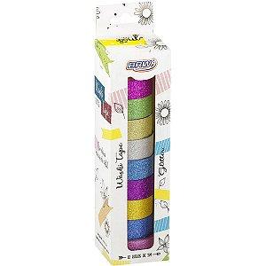 Fita Adesiva Decorada Washi Tape 15X5 Gliter 10 Core Brw