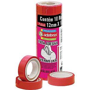Fita Adesiva Polisil 12Mmx10M.vermelho Adelbras