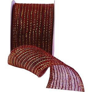 Fita Aramada De Juta 60Mmx10M Vermelho C/dourado Aramex