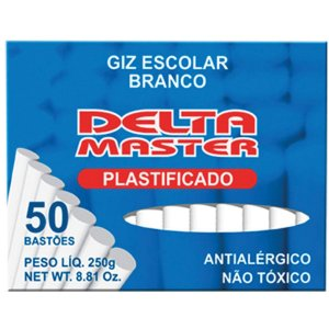Giz Escolar Plastificado Branco 30Cxsx50Palitos Delta