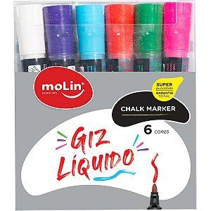 Giz Liquido Permanente Chalk Marker 6Cores Molin