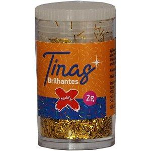 Glitter Poliester Tiras Gliter Ouro Pote C/2G Make+