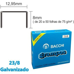 Grampo Para Grampeador 23/8 Galvanizado 1000 Grampos Bacchi
