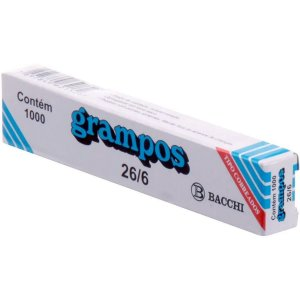 Grampo Para Grampeador 26/6 Cobreado 1000 Grampos Bacchi