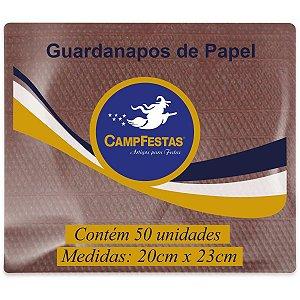 Guardanapo De Papel Marrom 20X23Cm 50F Campfestas