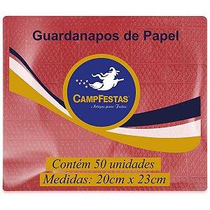 Guardanapo De Papel Vermelho 20X23Cm 50F Campfestas