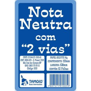 Impresso Talao Nota Neutra 1/32 25X02Fls.2Via Tamoio
