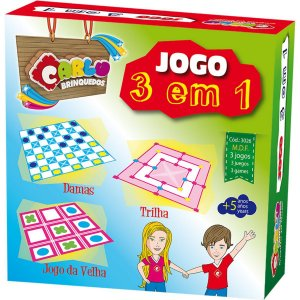 Jogo De Tabuleiro 3 Em1 Dama/trilha/jg.da Velha Carlu