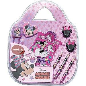 Kit Escolar Minnie Kit Fun C/9 Itens Molin