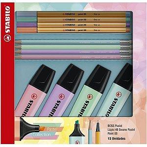 Kit Escolar Stabilo Boss+88 Pastel+Swano Sertic