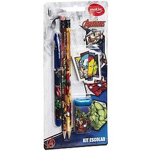 Kit Escolar The Avengers 1Can+2Lap+1Bo+1Ap Molin