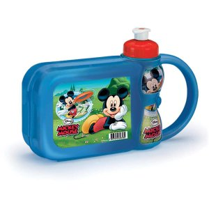 Lancheira Com Garrafa Mickey Mouse Kit Lanche Plasduran