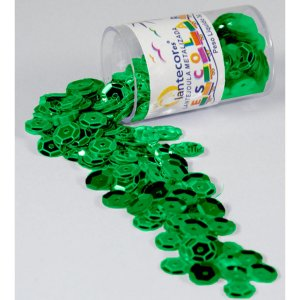 Lantejoula Metalizada Verde Bandeira 10Mm. Potes 2G. Lantecor