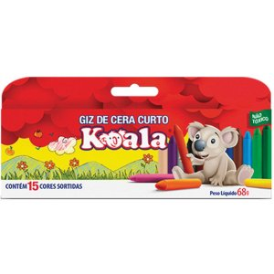Lapis De Cera Curto 15 Cores Koala Delta