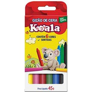 Lapis De Cera Gizao 06 Cores Koala Delta