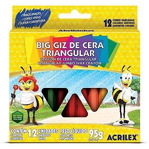 Lapis De Cera Gizao 12Cores Big Giz Triangular Acrilex