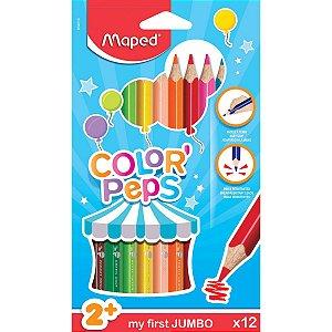 Lapis De Cor Jumbao Color Peps Maxi 12Cores Maped