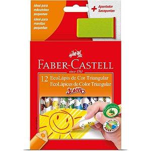 Lapis De Cor Jumbao Ecolapis 12 Cores Decorado Faber-Castell