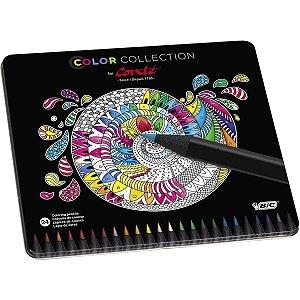 Lapis De Cor Redondo Bic Color Por Conte 24Cores Bic