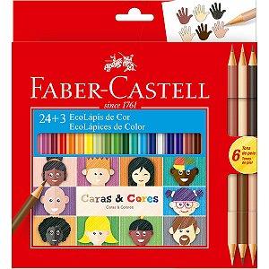 Lapis De Cor Sextavado Caras E Cores 24Cores Faber-Castell