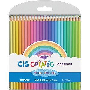 Lapis De Cor Sextavado Cis Criatic Tons Pastel 24 Cor Sertic