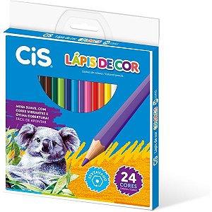 Lapis De Cor Sextavado Cis Plastic 24 Cores Sertic
