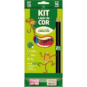 Lapis De Cor Sextavado Eco 12Cores C/kit Escolar Leonora
