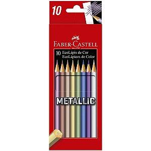 Lapis De Cor Sextavado Ecolapis 10 Cores Metallic Faber-Castell