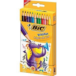 Lapis De Cor Sextavado Evolution Colors 12Cores Lata Bic