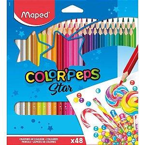 Lapis De Cor Triangular Color Peps 48 Cores Maped