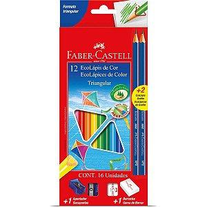 Lapis De Cor Triangular Ecolapis Longo 12Cores+2Graf Faber-Castell