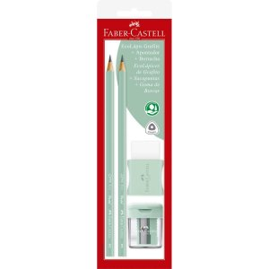 Lapis Preto Triangular Verde Agua Pastel C/ Bor-Apont Faber-Castell