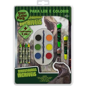 Livro Infantil Colorir Dinossauros Super Color Pack Dcl