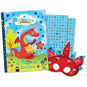 Livro Infantil Colorir Magia De Drakon Adesivos+Tiara Vale Das Letras