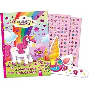 Livro Infantil Colorir Magia Unicornios Adesivo+Tiara Vale Das Letras