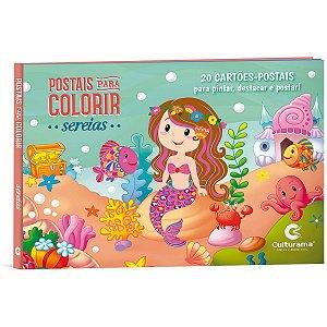Livro Infantil Colorir Postais Sereias P/colorir Culturama