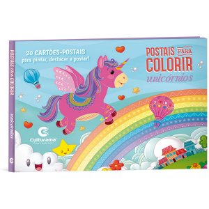Livro Infantil Colorir Postais Unicornio P/ Colorir Culturama